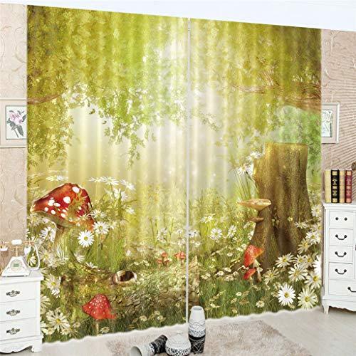 Zpbzambm soggiorno camera da letto tenda oscuranti stampa 3d cartone animato cameretta per bambini riduzione del rumore seta nera tende 250(h) x140cm(l) x2 pannelli