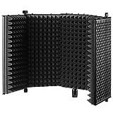Neewer NW-1 Faltbare einstellbare Studio Mikrofon Isolator Panel, Aluminium Akustik Isolierung Mikrofon Schild mit Hochdichtem-Schaum, Anti-Rutsch-Füße für Stativ Montage Tisch Verwendung (Schwarz)