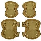 DCCN Set de 2 Protection genouillère et 2 Protection coudière tactique Militaire pour Airsoft CS Sport de plein air Skateboard Vélo