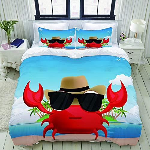 LIASDIVA Bettwäsche-Set, Mikrofaser,Cooles Krebstier mit schwarzer Sonnenbrille und Hut-Sommerferien auf tropischer Insel,1 Bettbezug 160 x 200cm+ 2 Kopfkissenbezug 80x80cm