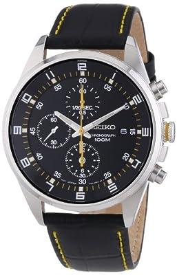 Seiko SNDC89P2 - Reloj cronógrafo de cuarzo para hombre con correa de acero inoxidable, color negro de Seiko