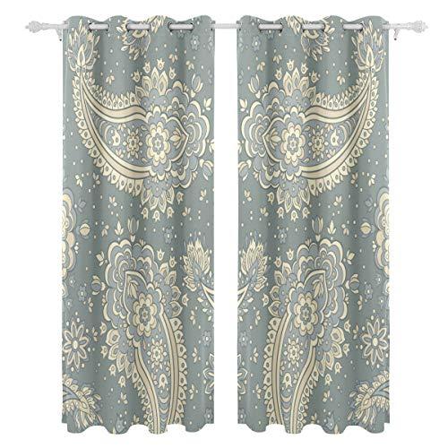 Persischen Stil Ethnischen einseitiger Druck Blackout Vorhänge Vorhänge Fenster Behandlung Duschvorhang Panels Für Schlafzimmer Wohnzimmer Küche Bad 55X78 Zoll 2 Stücke - Henna-behandlung