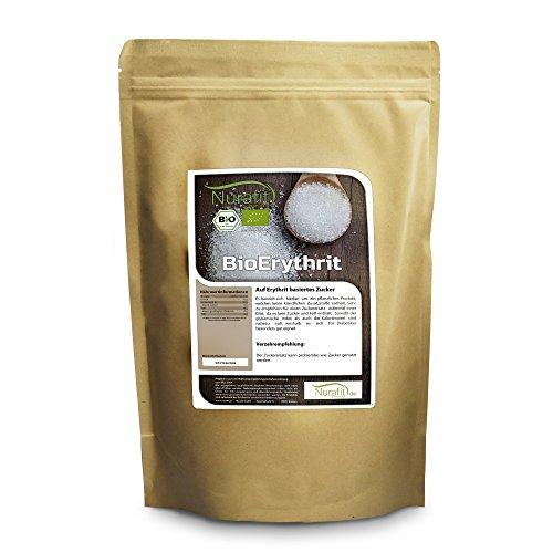 Nurafit BIO Erythrit | Natürliche Zuckeralternative | Ohne Fett ohne Zucker ohne Zusätze | Zuckerersatz kalorienfrei | 2000g/2kg
