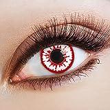 aricona Kontaktlinsen Farblinsen – deckend rot – farbige Kontaktlinsen ohne Stärke – bunte, farbig intensive Zombie Augenlinse, weiße 12 Monatslinsen für Halloween