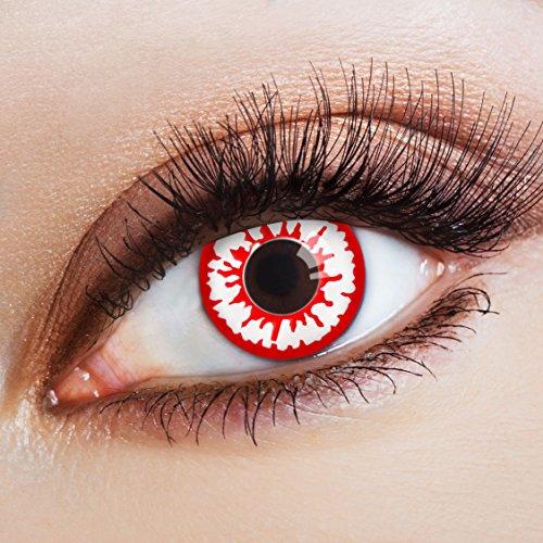 aricona Farblinsen – deckend rot – farbige Kontaktlinsen ohne Stärke – bunte, farbig intensive Zombie Augenlinse, weiße 12 Monatslinsen für Halloween