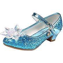 6281d4608f97 Eleasica Fille Cristal Fleur Chaussures de Princesse Reine des Neiges Elsa  Anna Talons Plats Paillettes Déguisement
