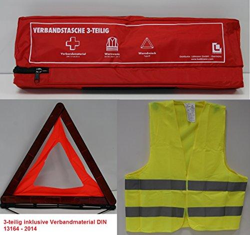 Preisvergleich Produktbild KFZ Erste Hilfe Sicherheitsset 3-teilig: Verbandstasche/Warndreieck/Warnweste DIN 13164 Verbandskasten 620147 rot