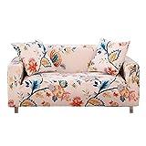 FORCHEER Sofabezug Elastischer Sofaüberwurf Blumen-Muster Sofa Cover Stretch Hussen für Sofa/Couch in Verschiedenen Größen(2-Sitzer, 145-185cm)