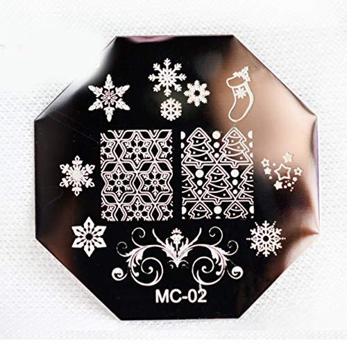 Série de noël Modèle Nail Art Plaque en acier Stamp Stamping BRICOLAGE Vernis à Ongles Imprimer Manucure Nail Stencil Template - Noir