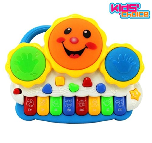 Kids Choice Drum Keyboard Musical Toys with Flashing Lights - Animal Sounds and Songs, Multi Color