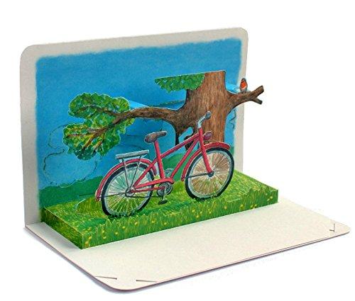 FAHRRAD AM BAUM:3 D Pop-Up-Karte mit einem roten Fahrrad - die ideale Geschenkkarte/Gutschein-Karte für ein Fahrrad oder Einladung für einen Ausflug ins Grüne