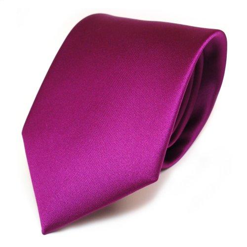 Designer-schnitt (TigerTie Designer Satin Krawatte violett magenta uni Polyester - Tie Schlips)