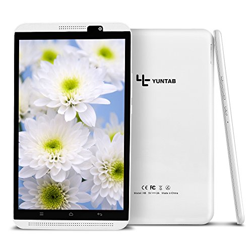 Yuntab H8 8inch A53 64bit CPU,1.3Ghz Quad Core Android 6.0,Unlocked Phablet with dual SIM Tablet PC,2G+16G,HD 800x1280,Dual Camera2M+5M,IPS,WiFi,Bluetooth, P-sensor,G-sensor,Support 2G/3G/4G (Weiß)