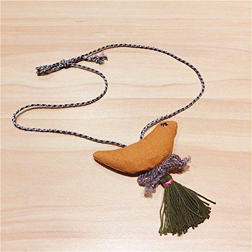 Mode Kleines Mädchen Stoff Vogel Anhänger Halskette Schmuck Kollektionen Charm Halskette Gelb