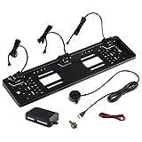 Kennzeichenhalter mit Einparkhilfe für hinten in schwarz – ideal zum Nachrüsten eines PDC Systems – mit Lautsprecher zur akustischen Warnung – 3 Sensoren variabel einstellbar