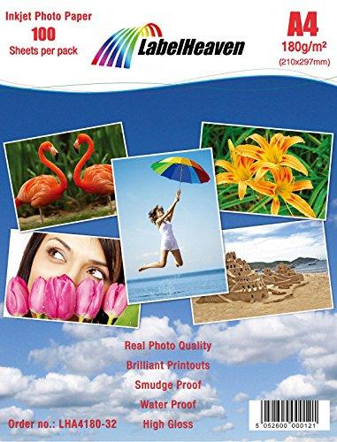 LabelHeaven LH-A4180-32 Fotopapier, A4, 210 x 297 mm, 180 g/qm, 100 Blatt