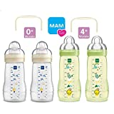 MAM Flaschen Babyflaschen 270ml + 330 ml Easy Active Baby Bottle Set Uni / 2 x Baby Bottle 270ml & 2 x 330ml / mit Sauger Gr.1 & Gr.2