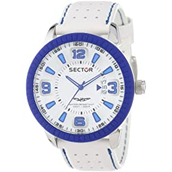 Sector Men's Quartz Watch with White Dial Analogue Display and White Leather Strap R3251119002