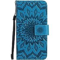 Uposao Handyhülle für Samsung Galaxy A5 2015 Leder Tasche Schutzhülle Handytasche Mandala Blumen Prägung Muster Ledertasche Lederhülle Bookstyle Klapphülle Flip Cover mit Kartenfach,Blau