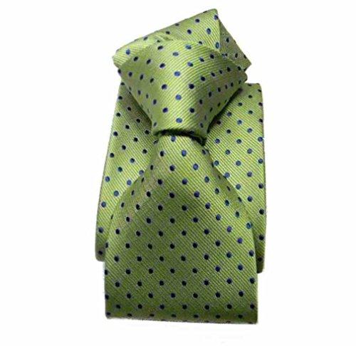 Avantgarde - Cravatta uomo a pois verde mela pallini blu colore verde mela, var 4