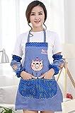Abcsea Delantal Y Oversleeves, Mangas Y Delantal De Los Brazos, Delantales Y Mangas Chef De Cocina Delantales Para Mujeres Con El Bolsillo - Azul