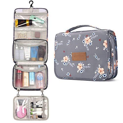 Kulturbeutel für Frauen, große hängende Reise-Kosmetiktasche, wasserdicht für Körperpflege/Kosmetik/Bürsten - Grau (Grau)