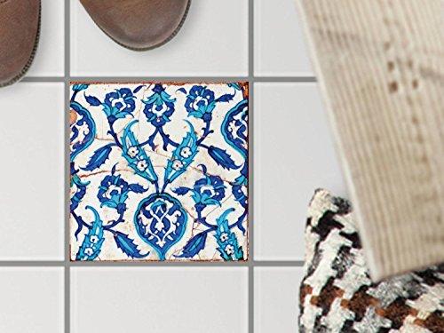 Bad-Bodenfolie, Küchenfliesen | Bodenfliesen Sticker Aufkleber Folie Bad Küche ergänzend zu Kühlschrankmagnet Baddeko | 15x15 cm Muster Ornament Hamam-Vibes - 1 Stück