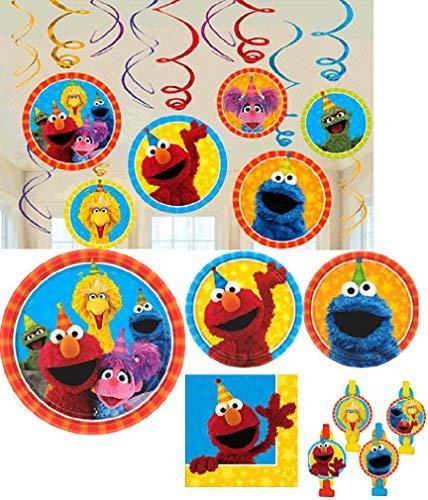 Amscan Sesame Street Geburtstag Party Pack. Bundle of Teller, Servietten, Tröten, und Hängenden Dekorationen