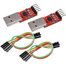IZOKEE CP2102 Modul USB zu TTL 5PIN Seriell Konverter Adapter Modul, UART STC Downloader für 3,3 V und 5 V mit Jumper Kabel (2 Stück)