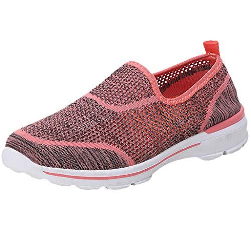 LILIGOD Sommer Damen Sneakers Hohlgewebe Leichte Atmungsaktive Turnschuhe Slip-On Freizeitschuhe Mesh Bequem rutschfest Laufschuhe Mode Weicher Boden Wanderschuhe Fitnessschuhe -