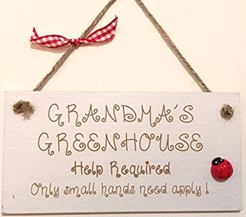 Grandma's Greenhouse Gift Shabby Chic Engraved Wooden Plaque Hand Finished Mothers Day *P25*