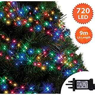 Cluster Tree Lights 720 LED 9m Multi Colour Indoor/Outdoor Christmas Lights String Fairy Gutter Lights Memory Timer Mains Powered 29ft Lit Length 10m/32ft Lead Wire Green Cable
