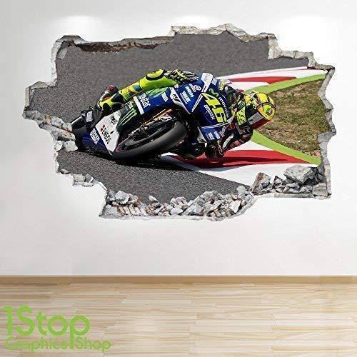 1Stop Graphics Shop Valentino Rossi Wandaufkleber 3D Optik - Jungen Kinder Schlafzimmer Motorrad Wand Abziehbilder Z176 - Large: 70 cm x 111 cm