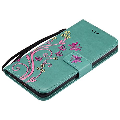 Étui en PU Cuir pour Apple iPhone 7Plus, CLTPY Coloré Papillon et Fleur Relief Désign Bookstyle Flip Folio Coque à Rabat Portefeuille de Protection Rabattable Case pour iPhone 7Plus + 1x Stylet - Bleu Vert