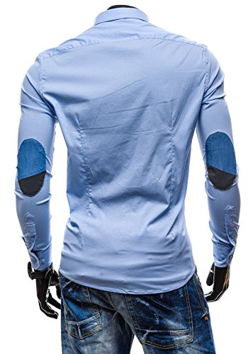 BOLF Langarm Herrenhemd Hemd Figurbetont Freizeit Slim Fit NEW MEN 7192 Hellblau