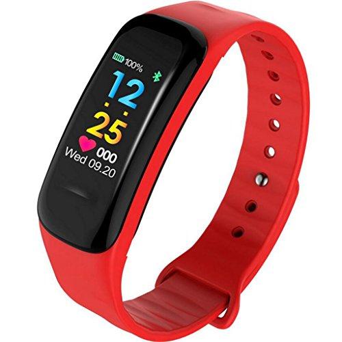 HHRONG Fitness Tracker Activity Tracker Uhr Bunte UI Touchscreen mit Pulsmesser Schlaf Monitor Kalorienzähler Uhr Schrittzähler IP67 Wasserdicht Armband Armband (Farbe : Rot)