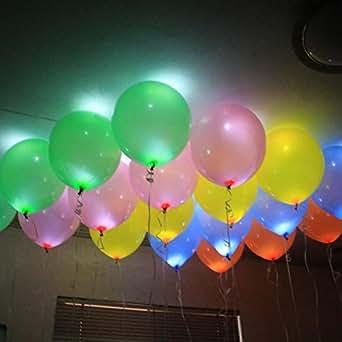 Lot de 60 Ballons LED lumineuses éclairage Ballon Gonflable Pour Décoration Maison Jardin Magasin Anniversaire Mariage Bapteme Wedding Party la Fête Noël Saint Valentin Enfant Lumineux Couleur