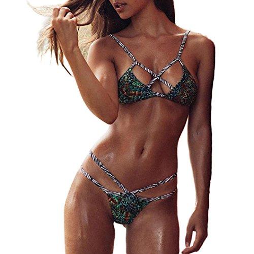 Kanpola_Swimwear Womens Two Piece Swimwear Bikini, Ladies Sling Halter Front Chest Straps Cross Triangle Padded Bathing Swimsuit Beachwear Tankini Swimming Costume