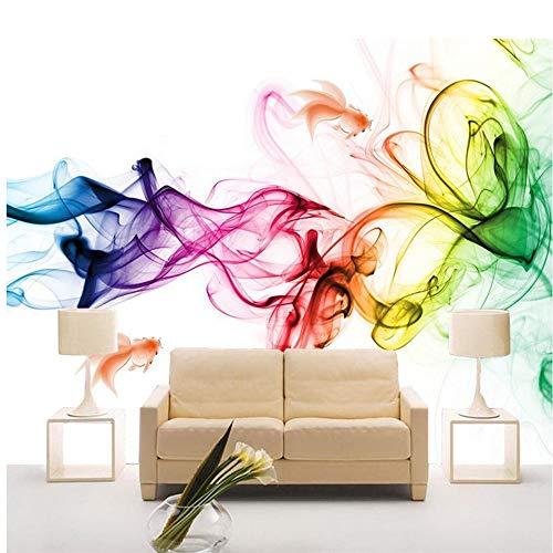 derne geometrische Linien Zeichnung Farbe Rauch Kunst Wohnzimmer Sofa Bett Schlafzimmer Hintergrund Tapete Wandbild, 250 * 175 cm ()