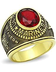 ISADY - US Marines Gold Acier Rubis - Bague Homme - Chevalière - Acier - Oxyde de zirconium rouge