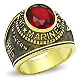 ISADY - US Marines Rubin - Herren-Ring - 585er 14K Gold platiert - Zirkonium Rot - T 72 (22.9)