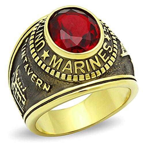 ISADY - US Marines Rubin - Herren-Ring - 585er 14K Gold platiert - Zirkonium Rot - T 60 (19.1)