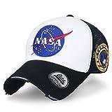 ililily NASA Meatball abgebildet im Logo Stickerei Baseball Cap Apollo 1 Flicken Trucker Cap Hut (XL, Black & White_XL)
