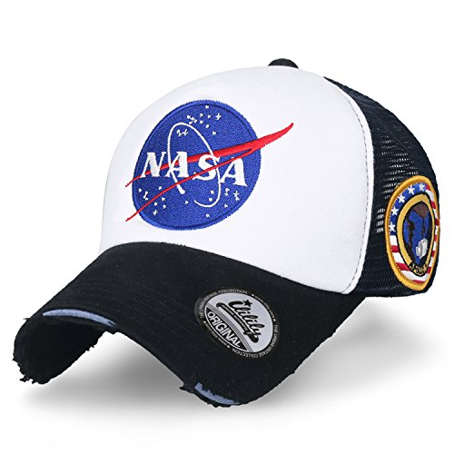 ililily NASA Meatball abgebildet im Logo Stickerei Baseball Cap Apollo 1 Flicken Trucker Cap Hut (XL, Black & White_XL)