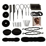 Accessori Per Capelli Pins Capelli,JUSTIME 42 set di acconciature Hair Styling Tool-Mix Accessori Set,Utensili Clip di Capelli, Rilievi, Capelli Pins,Pastiglie, Schiuma, Sponge, Ciambella per DIY