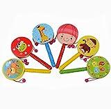 Tonsee 1 PC Rassel aus Holz Pellet Trommel Cartoon Musikinstrument Spielzeug für Kind Kinder Geschenk