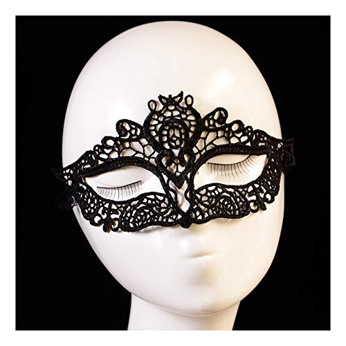 SCLMJ Damenmaske Masque Black Lace Halbe Gesichtsmaske Für Halloween-Party, D
