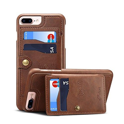 Leder-Schutzhülle für iPhone 6 + 7P 8 Plus Apple; Kartenfächer, Standfunktion, hochwertig, schlankes Design, weich, braun