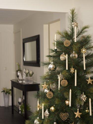 Konstsmide 1925-100 - Luces led para árbol de Navidad (5 velas, 5 diodos de blanco cálido, accesorio para el artículo 1920-100, funciona con 10 pilas AAA de 1,5 V)