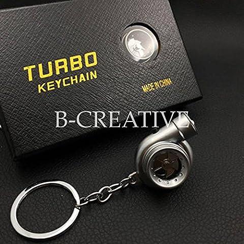 b-creative Turbolader Elektrische kolbenmotor leichter,-LED Taschenlampe, Daihatsu, Ferrari, Fiat, Ford, C-Max, B-Max, Capri, EcoSport, Edge, Escort, F150Turbo Schlüsselanhänger Kette Ring, Schlüsselanhänger–perfekte Weihnachtsgeschenk–UK–Schnelle Lieferung, silber